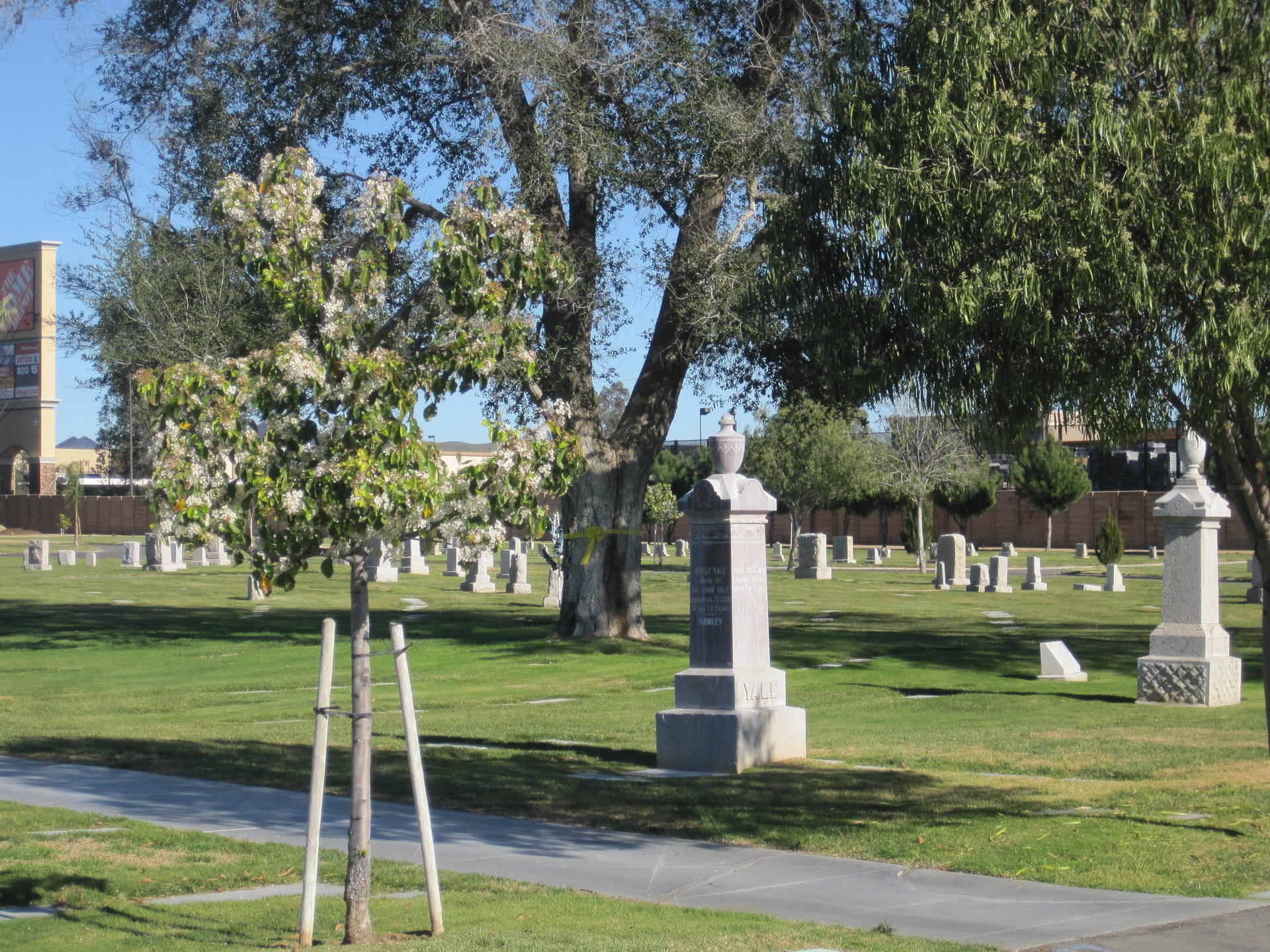 traditional cemetery burial area with tall headstones