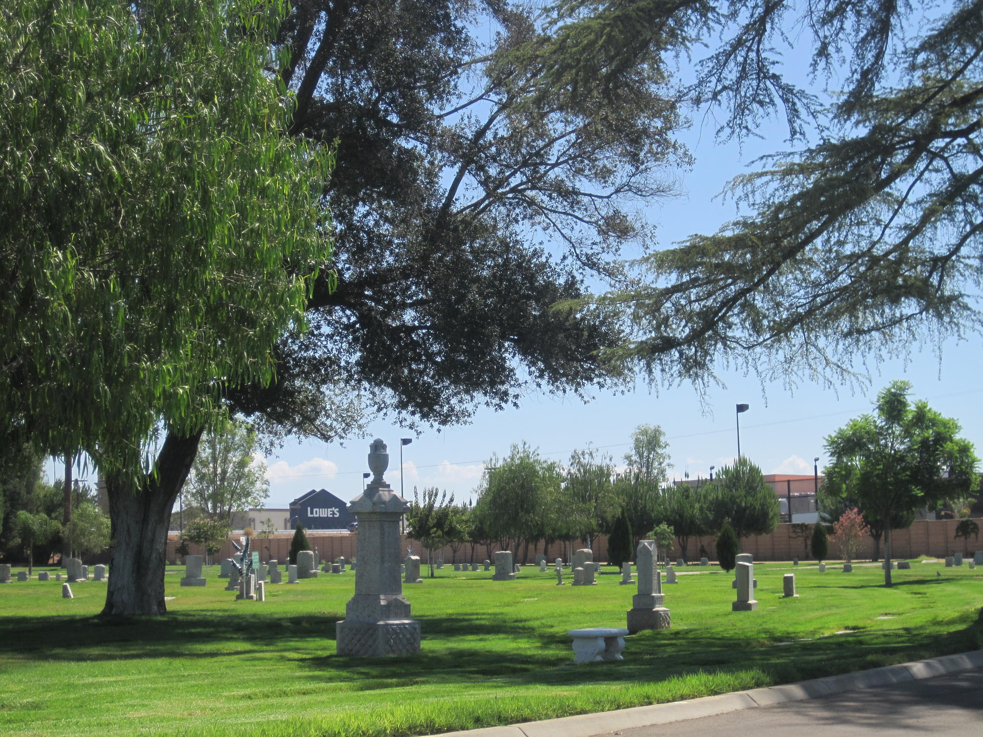 cemetery grounds with tall headstones